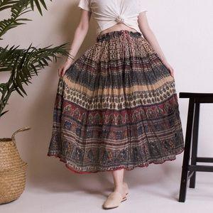Vintage 90s cotton paisley cotton gauze maxi skirt